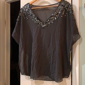 Express sheer sequined top